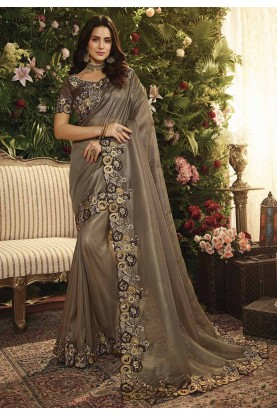Brown Colour Imported Fabric Saree.