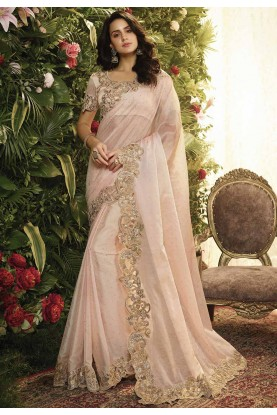 Baby Pink Colour Embroidery Saree.