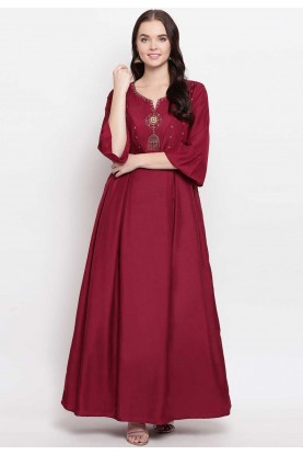 Maroon Colour Cotton Designer Kurti.