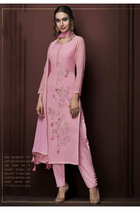 Pink Colour Georgette Salwar Suit.