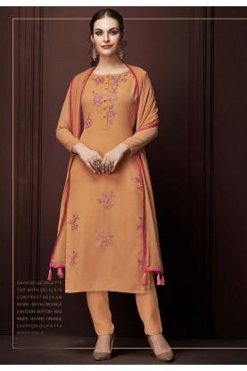 Designer Salwar Kameez Orange Colour.