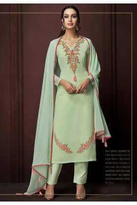 Green Colour Party Wear Salwar Suit.