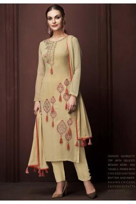 Beige Colour Designer Salwar Kameez.