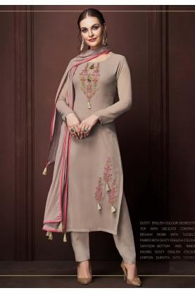 Rust Colour Colour Georgette Salwar Kameez.