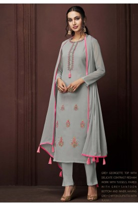 Grey Colour Casual Salwar Suit.