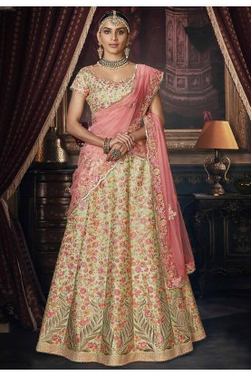 Pista Green Colour Designer Lehenga Choli.
