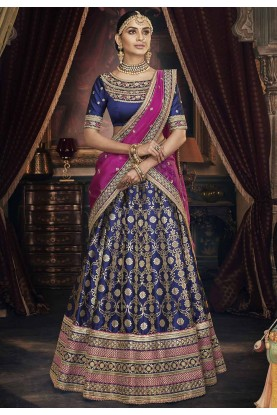 Blue Colour Jacquard Lehenga Choli.