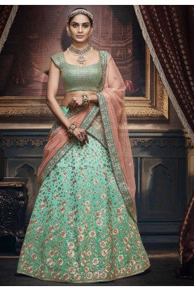 Turquoise Colour Silk Lehenga Choli.