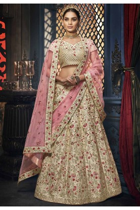 Indian Wedding Lehenga Choli Beige Colour.