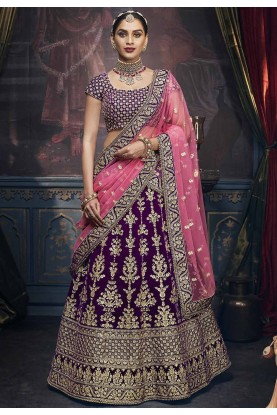 Purple Colour Velvet Lehenga Choli.