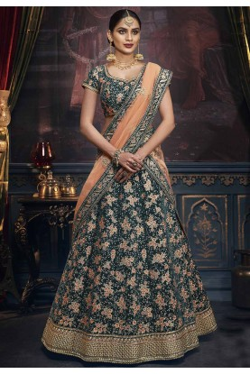 Green Colour Bridesmaid Lehenga Choli.