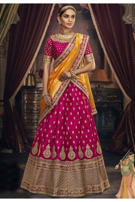Rani Pink Colour Bridal Lehenga Choli.
