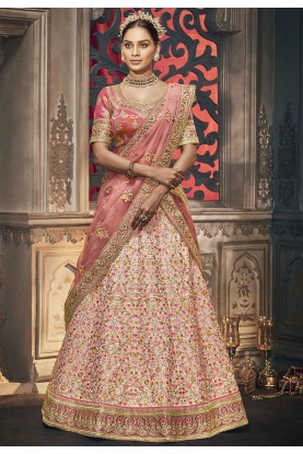 Light Peach Colour Engagement Lehenga Choli.