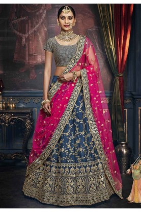 Blue Colour Designer Silk Lehenga Choli.