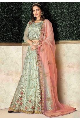 Pista Green Colour Designer Lehenga Choli.