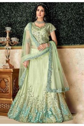 Green Colour Engagement Lehenga Choli.