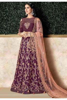 Purple Colour Silk Velvet Lehenga Choli.