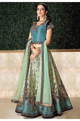 Green Colour Jacquard,Silk Lehenga Choli.