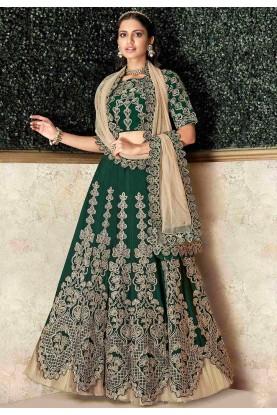 Indian Designer Lehenga Choli Green Colour.