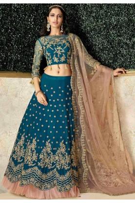 Party Wear Lehenga Choli Blue Colour.
