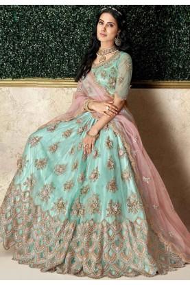 Sea Green Colour Silk,Net Lehenga Choli.