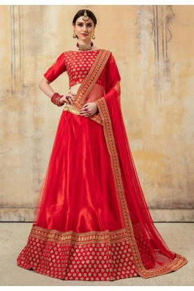 Red Colour Designer Bridal Lehenga Choli.