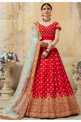 Designer Wedding Lehenga Choli Red Colour.