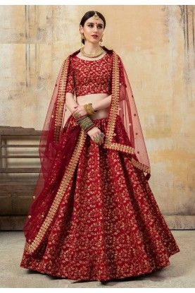 Designer Lehenga Choli Maroon Colour.
