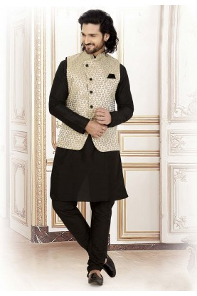 Black,Grey Colour Jacquard Kurta Pajama.