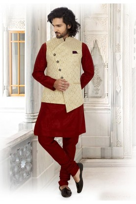 Maroon,Golden Colour Indian Kurta Pajama.