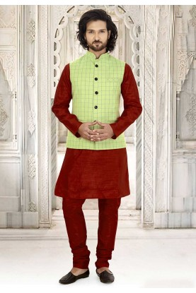Maroon,Green Colour Kurta Pajama Jacket.