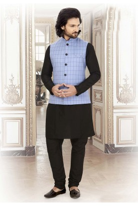 Silk,Cotton Kurta Pajama Black,Blue Colour.