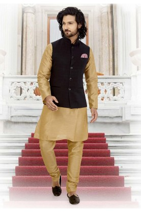 Beige,Blue Colour Readymade Kurta Pajama.