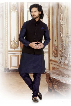 Blue,Black Colour Party Wear Kurta Pajama.