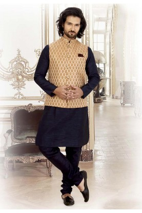 Blue,Peach Colour Brocade Kurta Pajama Jacket.