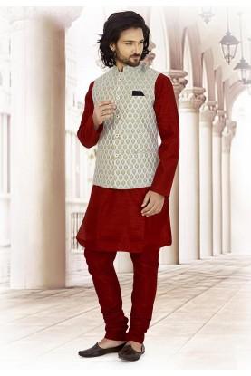 Maroon,Blue Colour Designer Kurta Pajama.