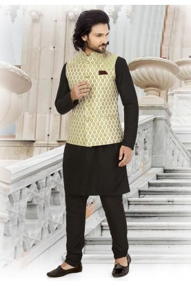 Party Wear Kurta Pajama Black,Golden Colour.