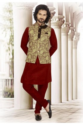 Maroon,Green Colour Jacquard Kurta Pajama Jacket.