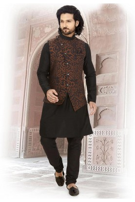 Black,Brown Colour Silk Kurta Pajama.