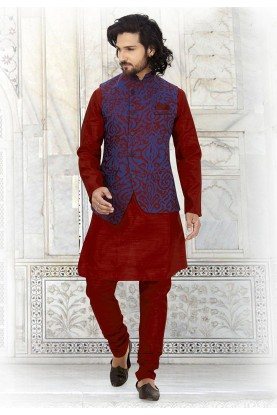 Maroon,Blue Colour Indian Designer Kurta Pajama.