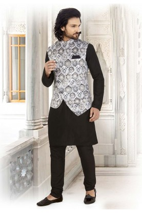 Black,White Colour Cotton Readymade Kurta Pajama.