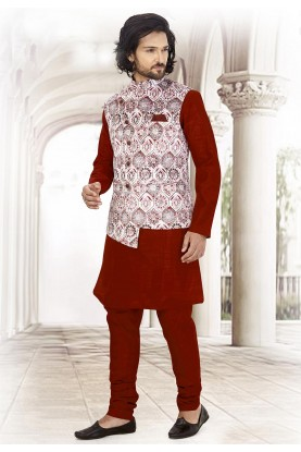 Maroon,White Colour Printed Kurta Pajama.