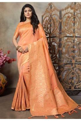 Peach Colour Weaving Saree.
