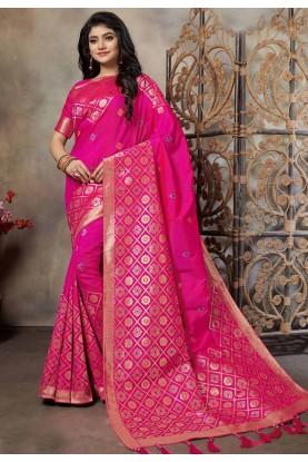 Rani Pink Colour Banarasi Silk Sari.