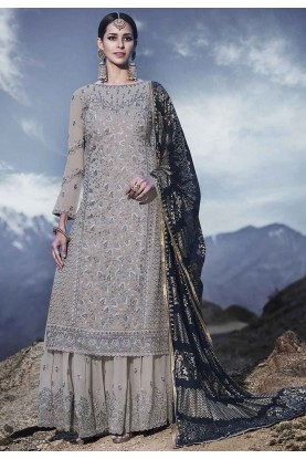 Grey Colour Party Wear Salwar Kameez.