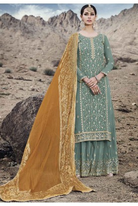 Sea Green Colour Women's Salwar Suit.