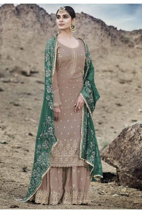 Sharara Salwar Suit Beige Colour.