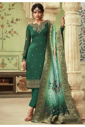 Green Colour Digital Print Salwar Suit.