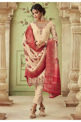 Cream Colour Georgette Salwar Suit.