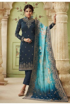 Party Wear Salwar Suit Blue Colour.